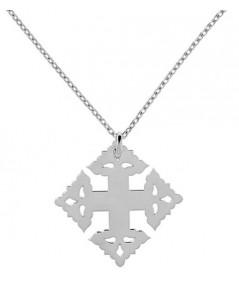 Croix de Megève lisse or blanc 750 sur chaine vendue  en accessoire