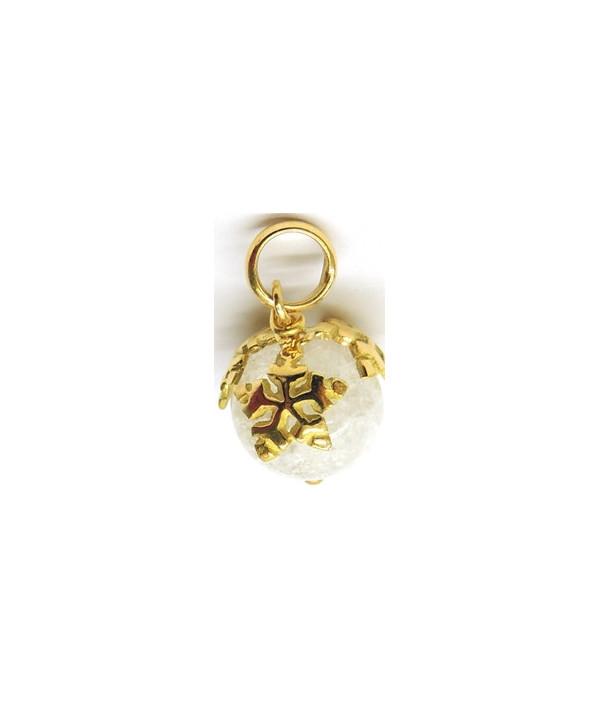 Boule de Neige cristal agrémentée de 3 flocons en or 750 Joly-pottuz Megève