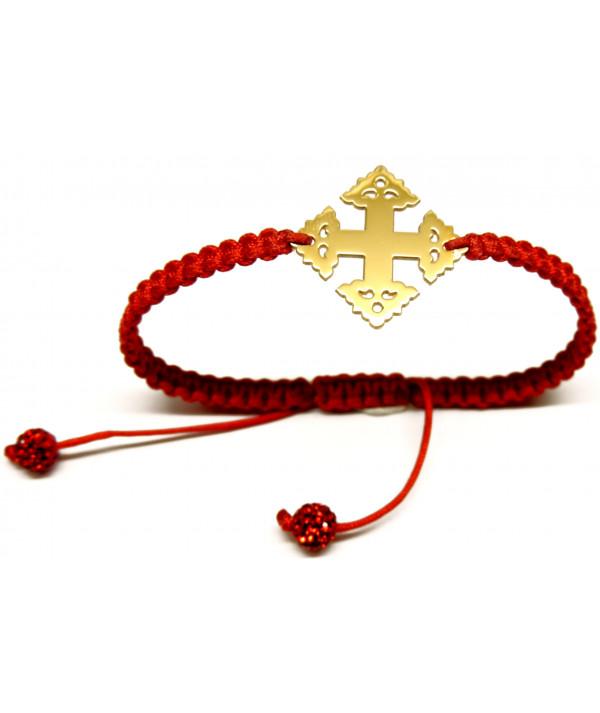 Bracelet Croix de Megève sur cordon bijouterie JOLY-POTTUZ