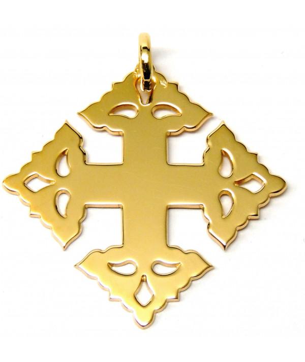 croix  de Megève lisse or jaune 750