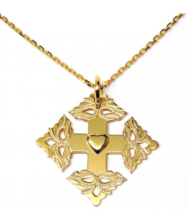Croix-Megève ciselée -coeur de Savoie -chaine--joly-Pottuz
