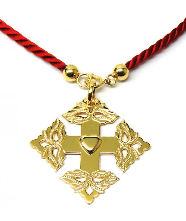 Croix-Megève ciselée -coeur de Savoie -cordon -rouge-joly-Pottuz