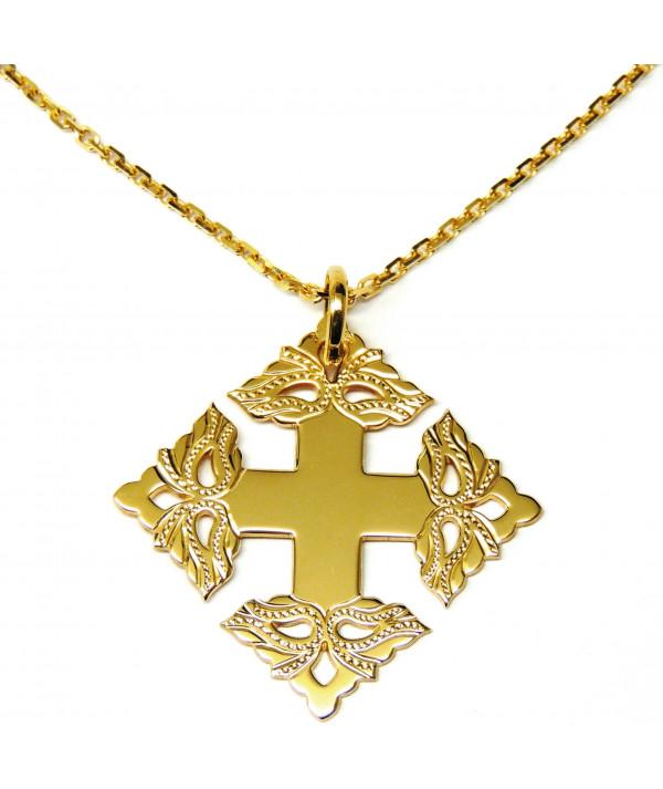 Croix-Megève ciselée - chaine or-joly-Pottuz