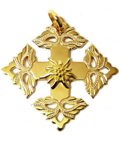 Croix-Megève- ciselée -edelweiss -joly-Pottuz