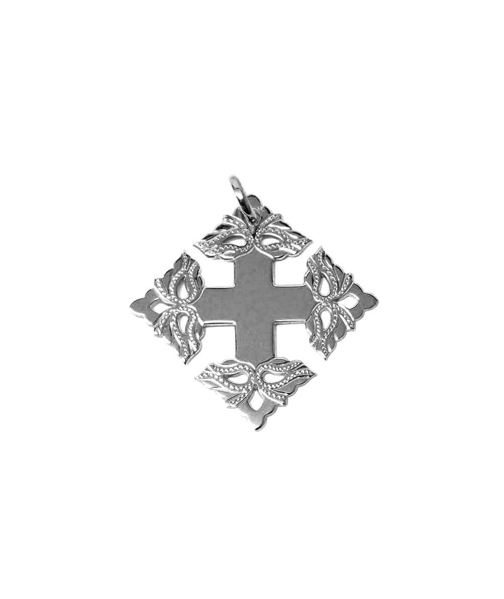 Croix-Megève-ciselée-or blanc-3,5cm- 750-Joly-pottuz