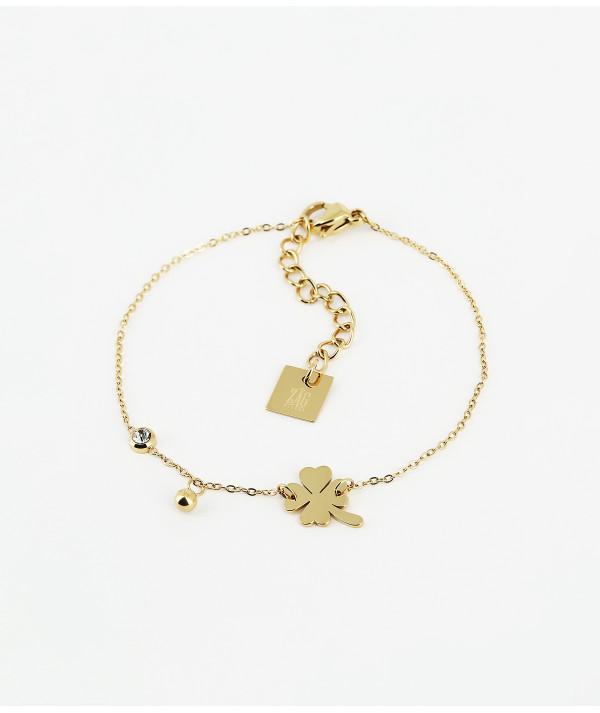 bracelet acier doré trèfle