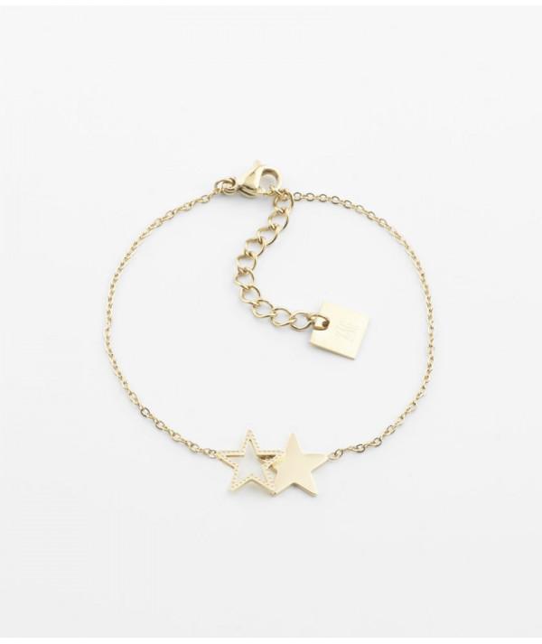 Bracelet ZAG   Acier doré avec Etoiles