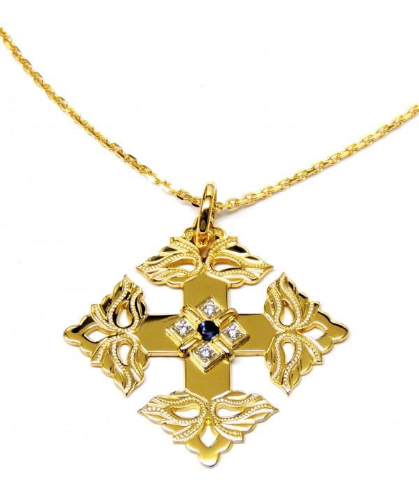 Croix-Megève-Saphir-Diamant-Jchaine or-joly-pottuz
