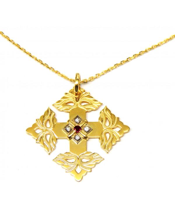 croix-megève-rubis-diamant-chaine or 750-joly-pottuz