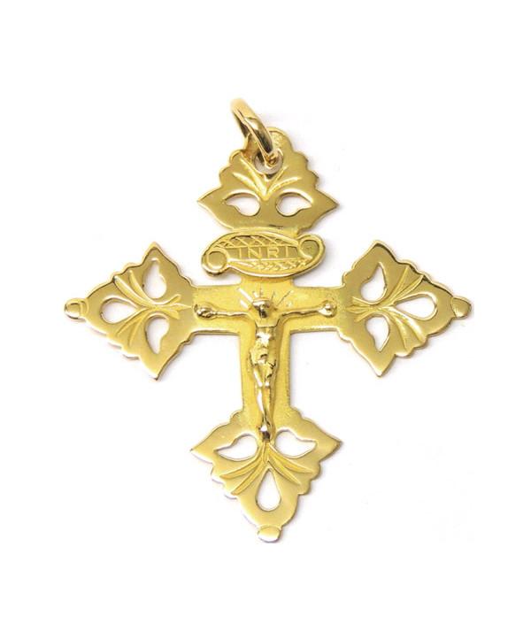recto de la Croix de Megève 4cm avec Christ en Or ou Argent