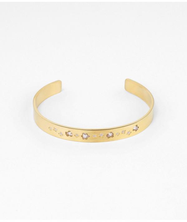 Bracelet Jonc doré avec zirconium