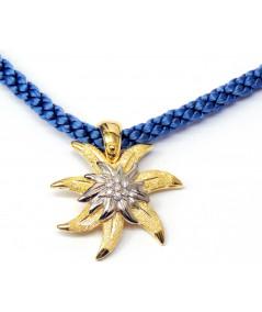 Pendentif Edelweiss  Bicolore Or et Diamants-joly-pottuz Megève