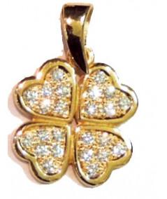 trèfle en or pavage diamants