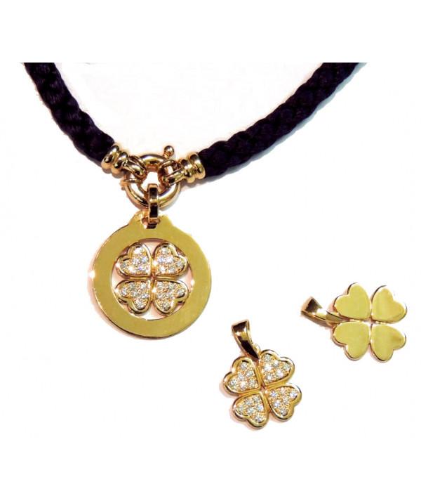 pendentif Trèfle en or 750 et diamants