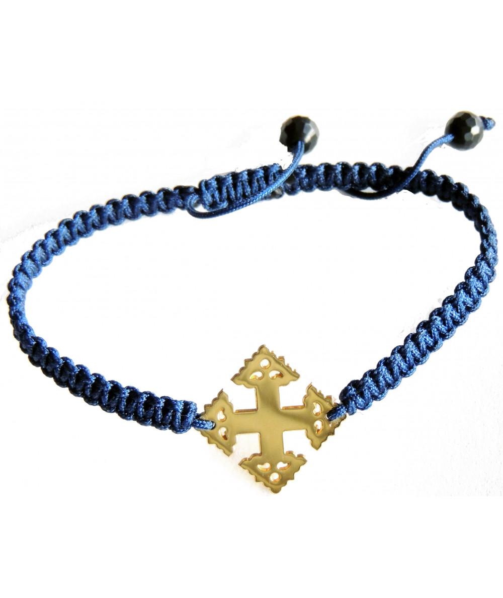 Bracelet-croix-Megève-or-cordon tressé-Joly-Pottuz