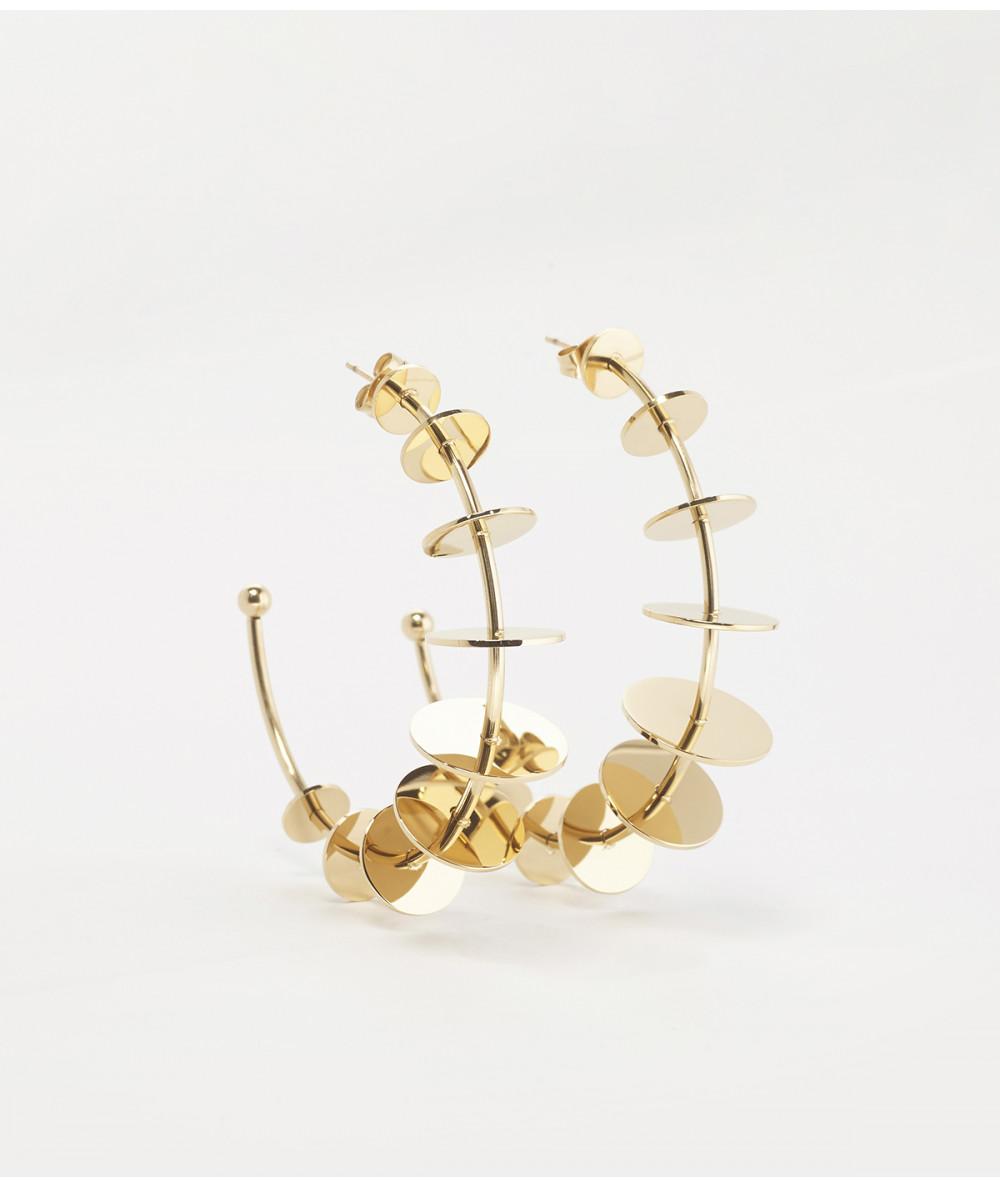 Créoles ZAg en avier doré avec astilles rondes dorées