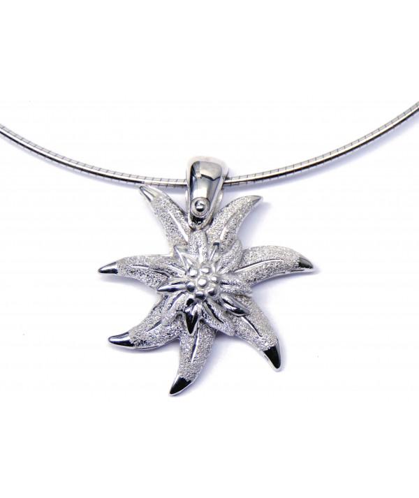 Pendentif edelweiss-argent-joly-pottuz-Megève