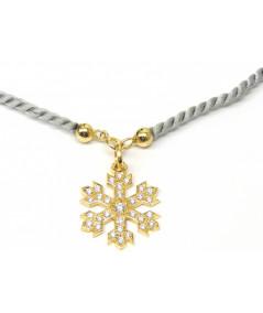 Pendentif  Cristal de Neige 2 cm Or et Diamants