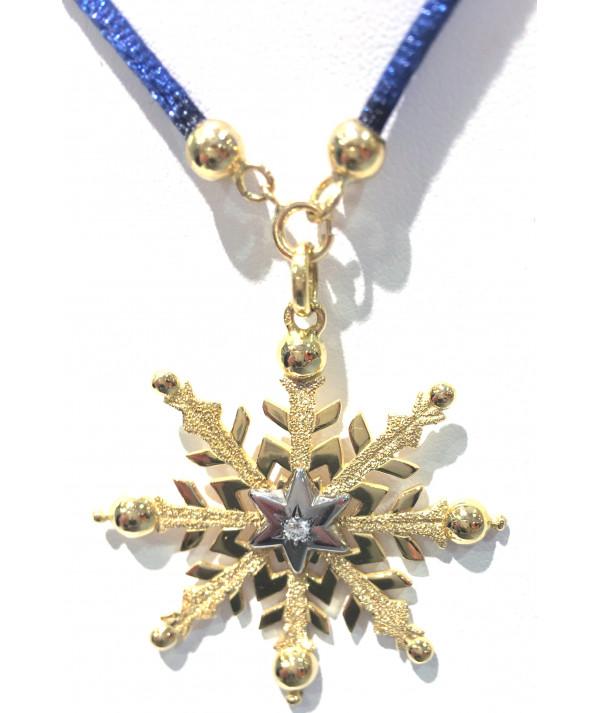 Pendentif Cristal de neige 3.5 cm et 1 diamant JOLY-POTTUZ Megève