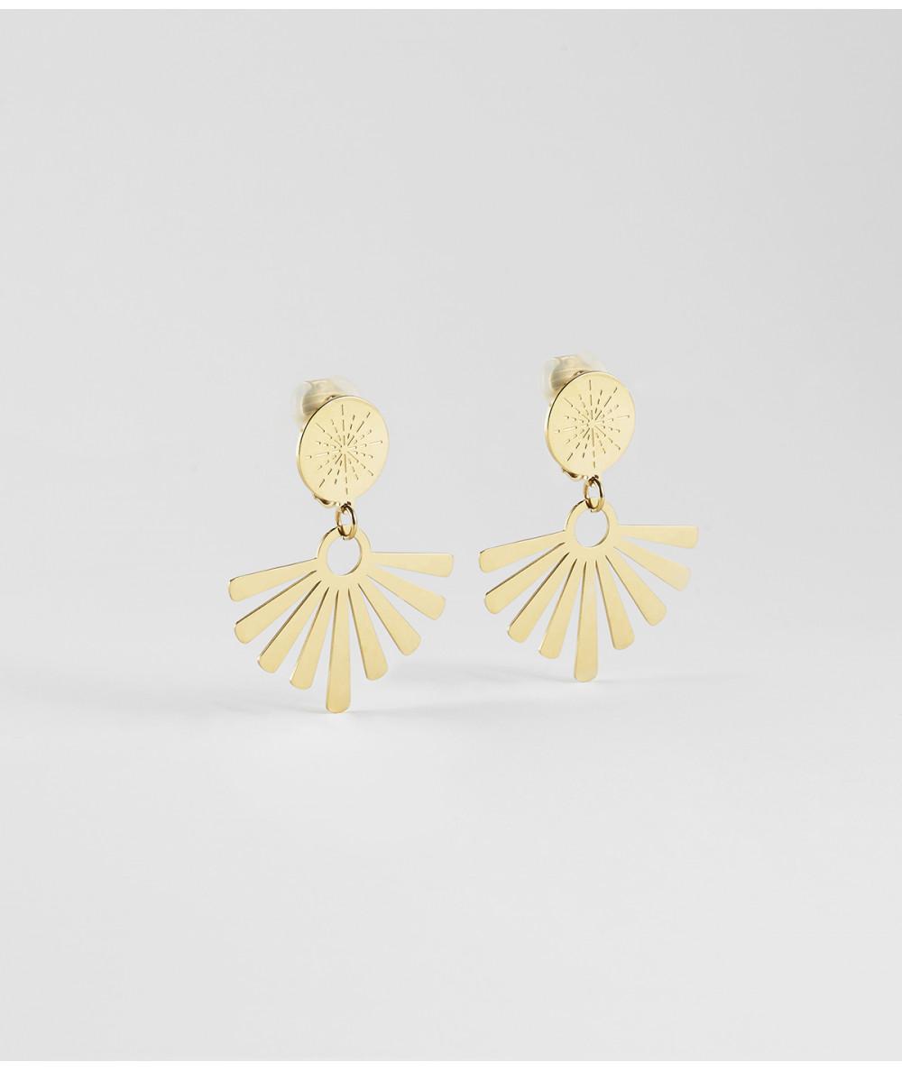 boucles d'oreilles ZAG non perçées en acier doré eventail Joly-Pottuz Megève