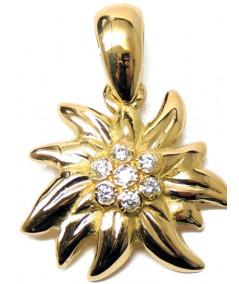 Pendentif Edelweiss or 750 et Diamants joly-pottuz Megeve