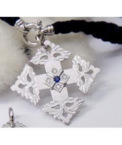 Croix-Megève-Saphir-Diamant-or blanc Joly-pottuz bijoutier