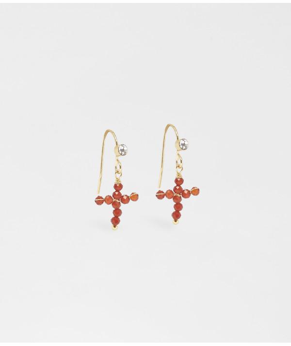 Boucles d'oreilles Zag croix Corail Joly-Pottuz Megève
