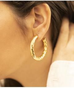 Boucles d'oreilles Zag en acier doré Créoles Joly-Pottuz Megève