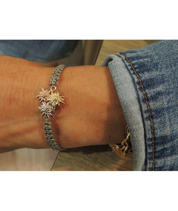 Bracelet bouquet d'Edelweiss or 750 bijouterie Megève