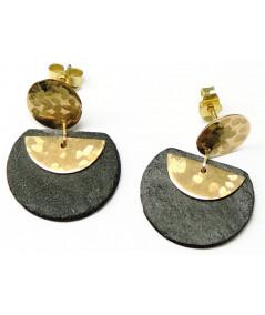 Boucles d'oreilles mini Ardoise et lune en Or 750