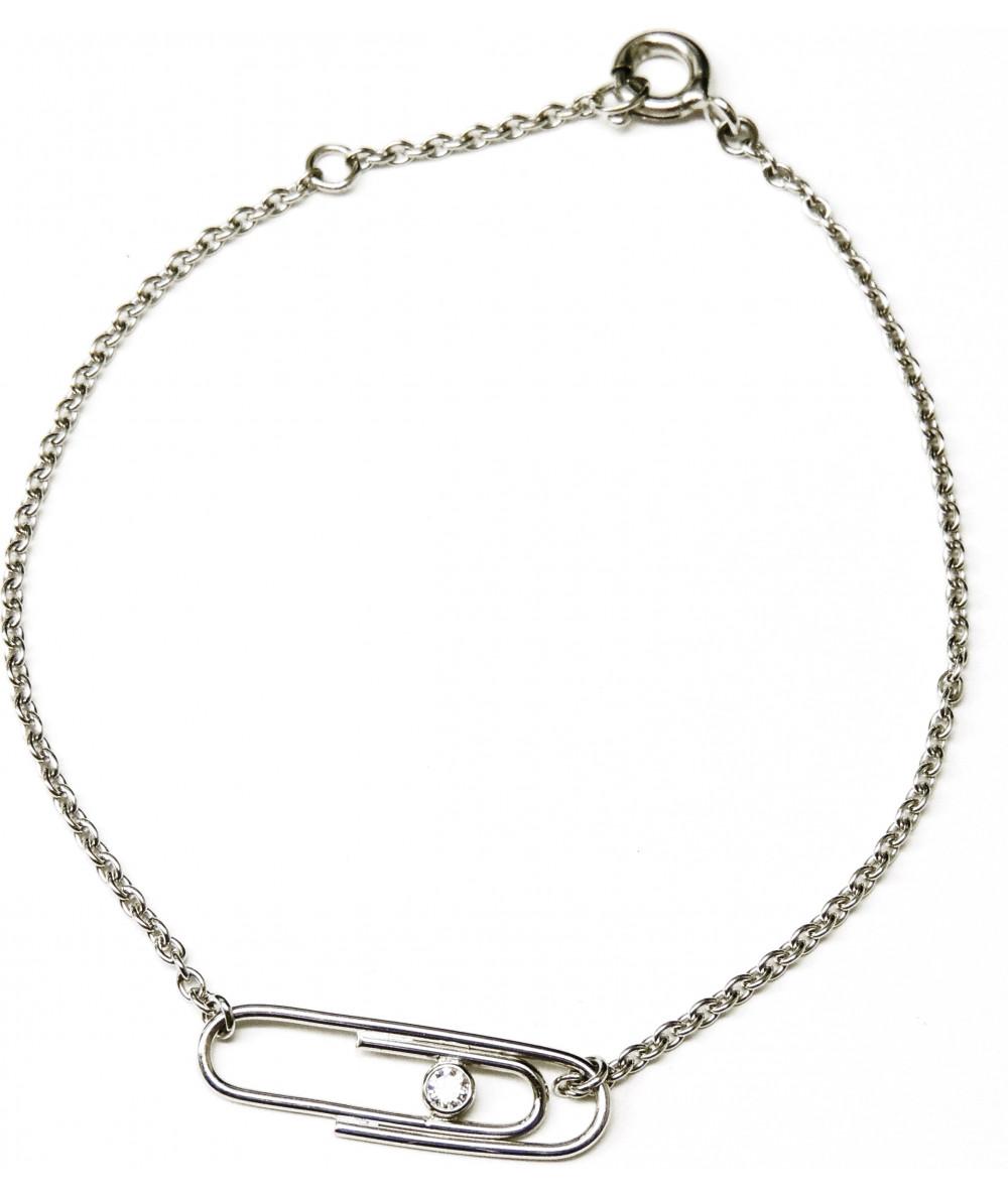 Bracelet trombone sur or 750 avec diamant JOLY-POTTUZ Megève (3)