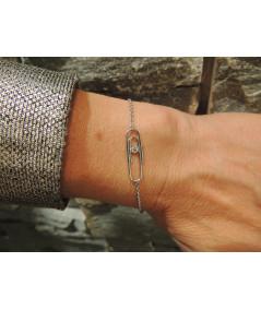 Bracelet trombone sur or 750 avec diamant JOLY-POTTUZ Megève