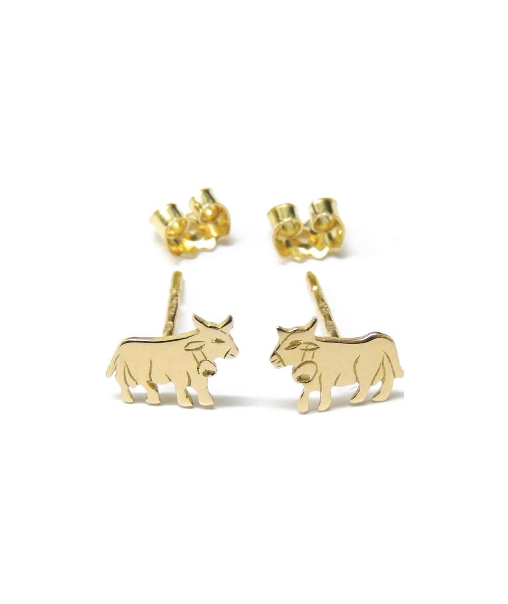 boucles d'oreilles  vaches or jaune bijouterie joly-pottuz Megève
