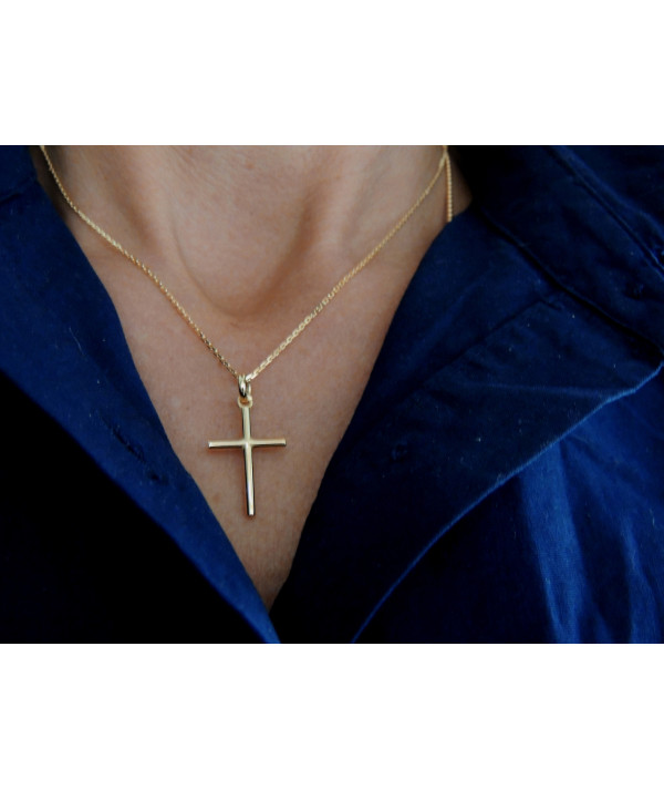 croix tube massive or jaune 750 bijouterie joly-pottuz Megève